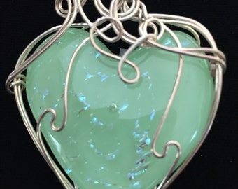 Sterling Silver Wire Wrapped Pale Green Glass Fused/Kilnformed Pendant with Dichroic