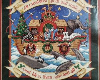 Noah's Noel   Christmas Needlepoint Kit    Picture or Pillow Needle Art Insert   Dimensions produced 1997 - Animals, boat, ark, God, bless