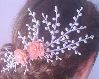 Bridal headpiece, Pik's wedding with branches of pistils and cold porcelain flowers.