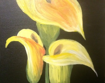 Calla Lilly Acrylic Painting