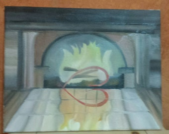Modern Abstract: Oil Painting, Fireplace
