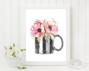 Coffee Flowers Print - Watercolor Coffee Mug & Flowers Art Printable - 8x10 Wall Art Home Decor - Digital Instant Download