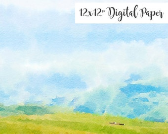 Watercolor Digital Paper, Spring, Landscape, Grass, Sky, Clouds, 12x12, Watercolor Digital Background, Commercial Use ok