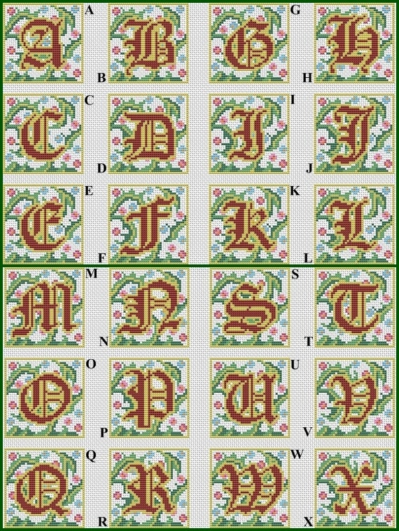 gothic alphabet monogram cross stitch pattern gothic abc cross