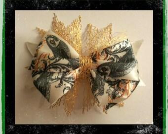 gold owl hair bow