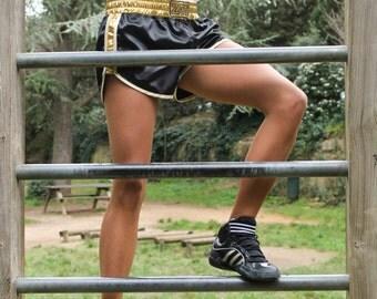 Short black jersey satin bias Golden coated white gold BLACK GOLD M.T. ZAT