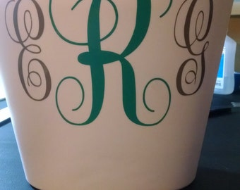 Monogrammed Waste Can