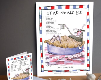 Fun Steak and Ale Pie Recipe Kitchen Print and greeting card