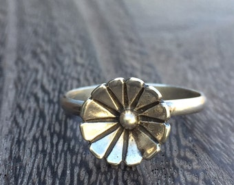 Rustic Flower Stacking Ring in Sterling Silver