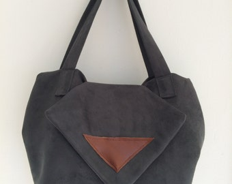Unique handcrafted suede handbag, genuine leather trim - everyday handbag - fabric purse