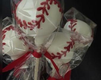 Baseball cake pops