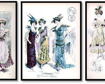 Victorian Fashion Illustrations Set of 3 Art Prints Ladies Costumes, Party Dresses, Masquerade