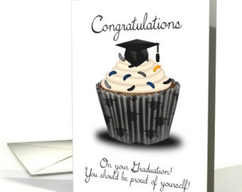 Graduation Congratulations card , Cupcake Graduation, Graduation Congratulations Card, Greeting Card Graduation