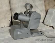 Vintage Film Projector Slide Projector F49 Soviet Grey Metal Industrial Lamp Mid Century Slide Viewer Russian