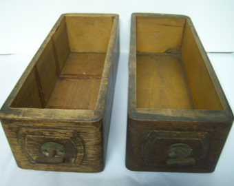Vintage Sewing Machine Drawers, Two Wooden Drawers, Upcycle Drawers, Standard S.M. Co, Many Uses, As Found, Metal Pulls