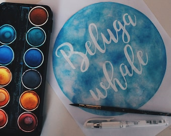 Hand painted watercolour quote circle font (made to order) choose your own colours and words