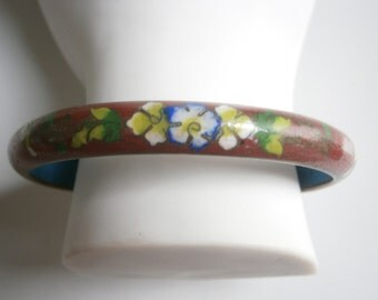 Chinese Red Cloisonné Bangle/Enamel