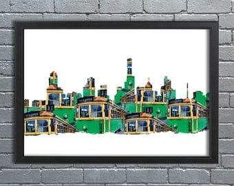 Melbourne Skyline Trams, Abstract, City, Iconic, Cityscape, home decor, poster, Tram, MEL A1 or A2, wall art, Canvas