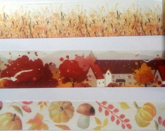 Autumn/Fall Grass, Houses, Trees, Leaves, Pumpkin & Acorn Washi Tape SAMPLE