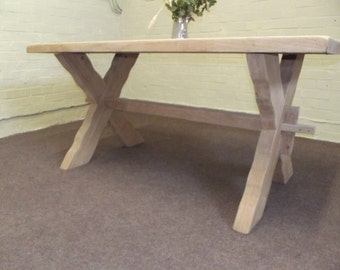 "Large Solid Oak Farmhouse Dinning Table - 2"" Thick- Vintage"