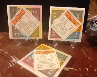Set of 3 Monopoly Tile Coasters - Orange Properties