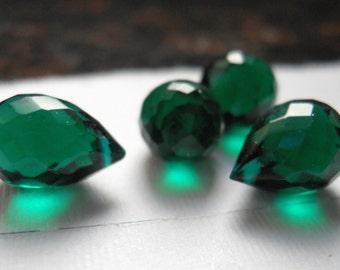 Emerald green teardrop quartz, 4 stones, 9mm x 5 mm, Briolette, Dark emerald green microfaceted