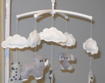 Musical mobile - grey safari and clouds (or customised to your baby's nursery theme)