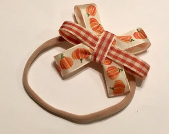 Pumpkin and Gingham Bow