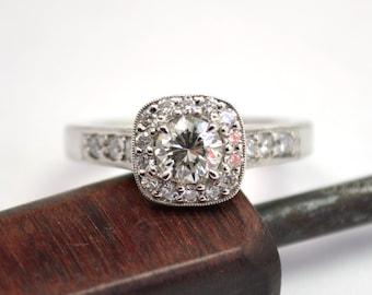1 Carat Total Weight Diamond Halo White Gold Engagement Ring