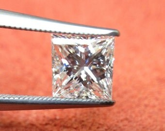 GIA Certified 1.02ct. H color SI1 clarity Princess Cut Natural Diamond