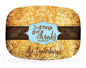 Personalized Thanksgiving Platter - In All Things Give Thanks - Thessalonians 5:18 - Thanksgiving Family Platter - Give Thanks Monogram