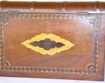 Antique Marquetry Inlaid Wood Box in shape of a Book