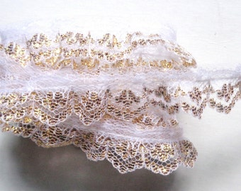 """ruffled White/Metallic Gold. Lace. 3/4"""" wide. selling by the yard"""