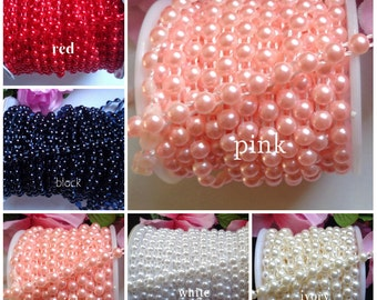 1/4 inch wide Half Round Pearls Beads String For Craft select color
