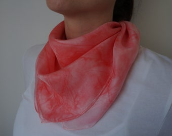 Silk scarf, red scarf, hand painted scarf, square scarf