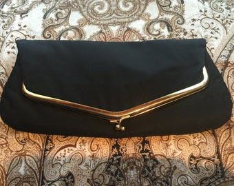 1950's Black Folded Clutch, Vintage Black and Gold Evening Purse