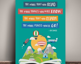 "The more that you read, the more that you know - 11x14"" - Dr Seuss print - instant download printable - reading poster"