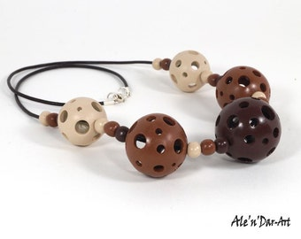 Hollow beat, Brown polymer clay necklase, polymer clay brown necklase, balls with holes necklase, polymer clay balls