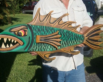 Hand carved fish wall mount ( 32 inches )