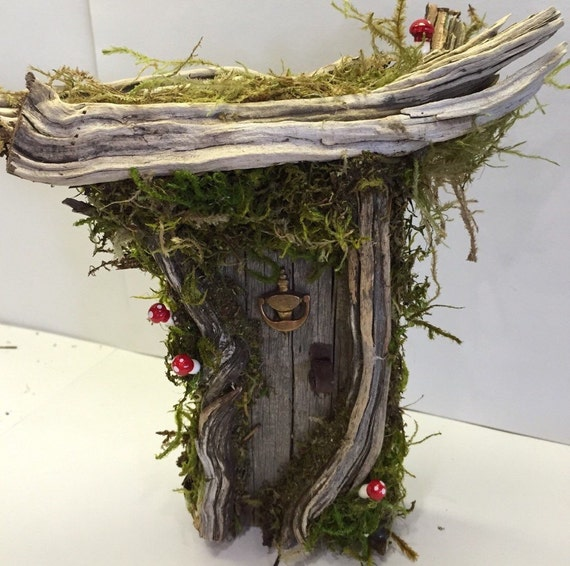 Rustic shabby chic enchanted forest fairy gnome by for Rustic fairy door