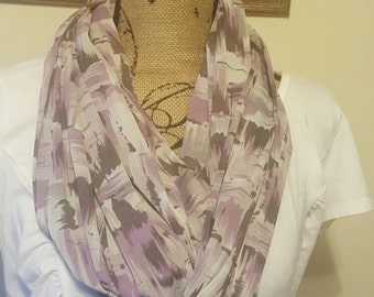 Purple & Gray Spring Semi-Sheer  Light Weight Infinity Scarf Women's