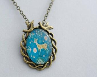 DEER glass cabochon pendant, Kawaii Necklace, Cute Necklace, Girly pendant, cabochon glass necklace. Vintage pendant. blue necklace