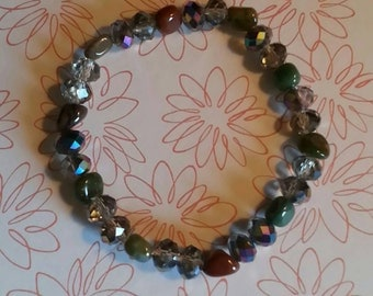 8mm Glass Crystal Prism Beads and Natural Bloodstone Beaded Bracelet
