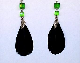 Sale! Black&green feather earrings