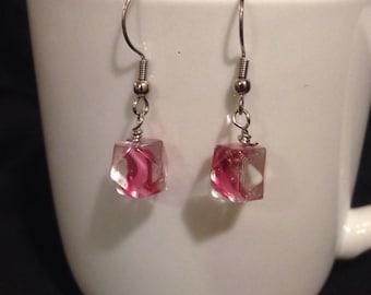 Pink swirl glass earrings
