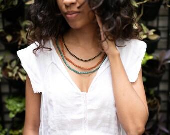 Black Brass Beads necklace, Triple wrap bracelet, N/B 1