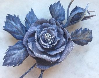 Denim rose brooch, jeans flower, blue rose, cotton rose, denim wedding, denim corsage,