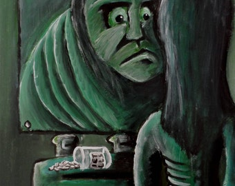 Anorexia original outsider art acrylic painting