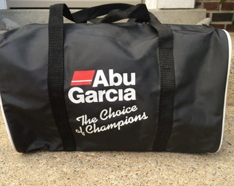 Vintage Abu Garcia Fishing Reel Advertisement Bag Black NICE!