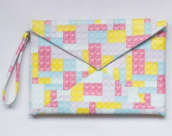 "Clutch Handbag / purse / Vegan Leather Clutch/ Print ""Lego"""